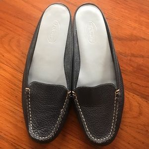 Talbots Pebble Leather Driving Mules Navy Size 7